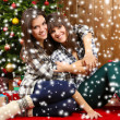Beautiful young sisters twins. Christmas and New Year — Stock Photo #61040861