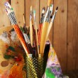 Paint brushes with paints — Stock Photo #61049177