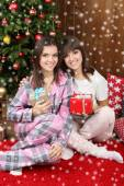 Beautiful young sisters twins. Christmas and New Year — Fotografia Stock
