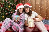 Beautiful young sisters twins. Christmas and New Year — Stock Photo