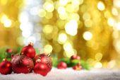 Christmas balls and lights — Stock Photo
