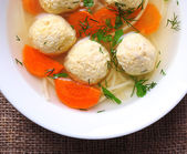 Soup with meatballs and noodles — Stock Photo