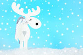 Christmas decoration in shape deer on light blue background — Stock Photo