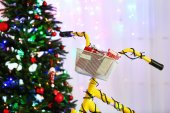 Bicycle near Christmas tree — Stock Photo