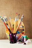 Paint brushes with paints — Stockfoto