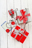 Gift boxes with card — ストック写真