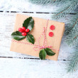 Cristmas gift with European Holly — Stock Photo #61058317