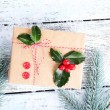 Cristmas gift with European Holly — Stock Photo #61058341