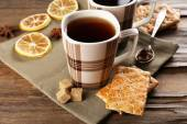 Cup of tea with cookies — Stockfoto