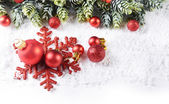 Christmas composition with baubles — Stock Photo