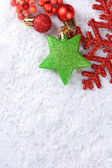 Christmas composition on snow — Foto Stock