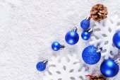 Christmas composition on snow — Stock fotografie