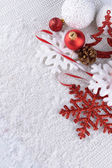 Christmas composition on snow — Stock Photo