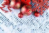Christmas composition on snow — Stock Photo