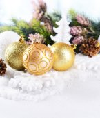 Christmas composition on snow close-up — Stock Photo