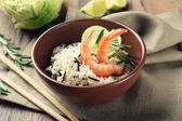 Tasty rice served on table, close-up — Foto de Stock