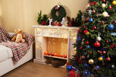 Christmas interior with sofa — ストック写真