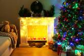 Christmas interior with sofa — Stock Photo