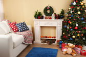 Christmas interior with sofa — Stock Photo