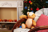 Christmas interior with rocking chair — Stock Photo