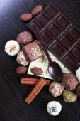 Bars of white and bitter chocolates — Stock Photo