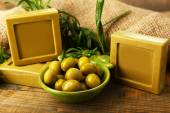 Bars of natural soap with rosemary — Stock Photo