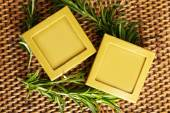 Handmade soap with rosemary branches — Stock Photo