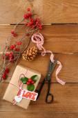 Christmas composition with handmade gifts — Stockfoto