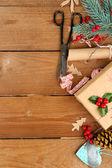 Christmas composition with handmade gift — Stock Photo