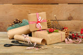 Beautiful Christmas composition with handmade gifts on wooden background — Stok fotoğraf