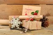 Christmas composition with handmade gifts — Stock Photo
