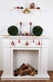 Fireplace with Christmas decoration — 图库照片