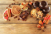 Chocolate cookies with bowl of cocoa — Stock Photo