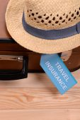 Travel suitcase with inscription — Stock Photo