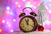 Klok en Kerst decoraties — Stockfoto