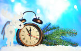Clock and Christmas decorations — Stock Photo