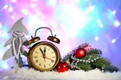 Klok en Kerst decoraties — Stockfoto