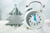 Clock with Christmas decorations — Stock Photo