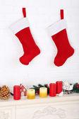 Christmas socks on wall — Stock Photo