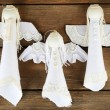Handmade Christmas decorative angels on wooden background — Stock Photo #61092001