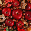 Christmas apples, nuts and cookies close-up — Stock Photo #61093657
