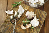 Raw garlic and spices — Foto Stock