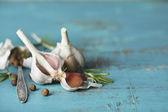 Spezie e aglio crudo — Foto Stock