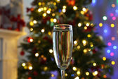 Champagne glass on table — Stock Photo