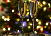 Champagne glasses on table — Stock Photo