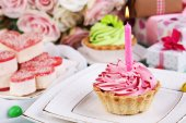 Fragment of birthday table — Stock Photo