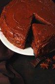Chocolate cake with chocolate cream — Stock Photo