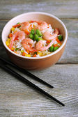 Boiled rice with shrimps — Foto Stock