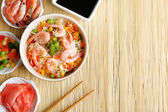 Boiled rice with shrimps — Stock Photo