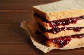 Tasty sandwich with jam — Foto Stock